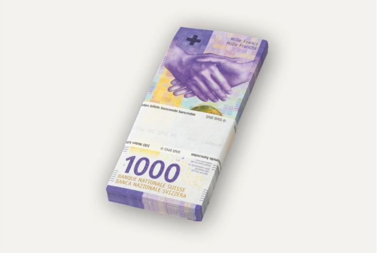 100 billets de 1000 francs.
